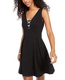 Teeze Me Juniors' Embellished Fit & Flare Dress