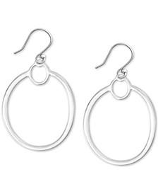 Silver-Tone Drop Hoop Earrings