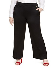 Plus Size Wide-Leg Sailor Pants, Created For Macy's