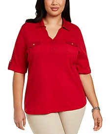 Plus Size Cotton Collared Top, Created for Macy's