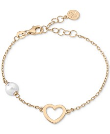 Imitation Pearl (6mm) & Heart Pendant Chain Bracelet