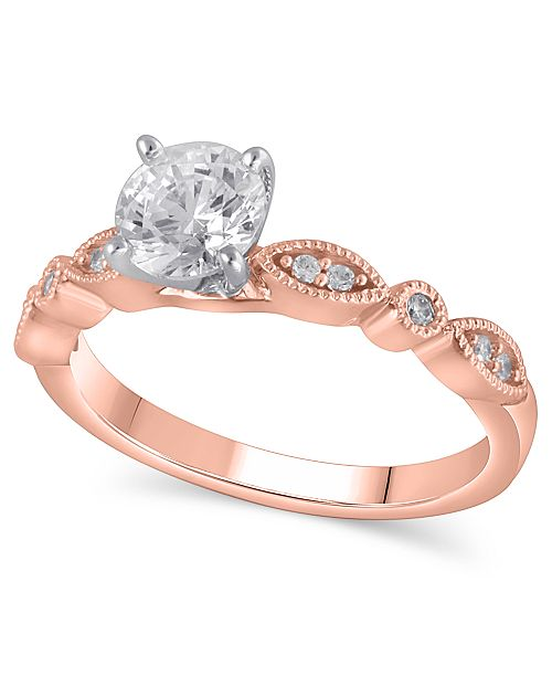Macy's Certified Diamond Engagement Ring (1 ct. t.w.) in 14k Rose Gold