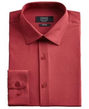 Men's Slim-Fit Performance Stretch Cooling Tech Red/White Dot-Print Dress Shirt