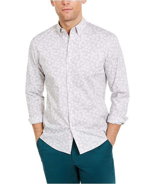 Michael Kors Men's Slim-Fit Stretch Abstract Floral-Print Shirt