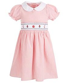 Toddler Girls Embroidered Seersucker Smocked Dress