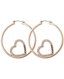 Medium Pavé & Logo Heart Hoop Earrings, 2""