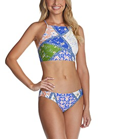 Juniors' High-Neck Bikini Top & Bottoms