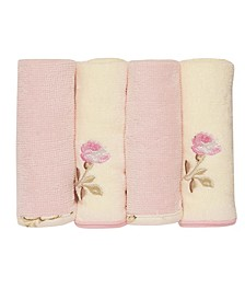 Vintage-Like Rose 4 Pack Washcloth Set