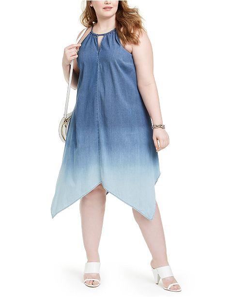 INC Plus Size Ombré Handkerchief-Hem Dress, Created For Macy\'s