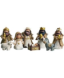 Resin White Christmas Look Baby Nativity - Set of 8