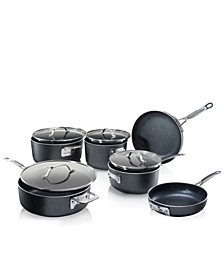 Premium Titanium Non-Stick Space-Saving StackMaster 10-Pc. Cookware Set with Tempered Glass Lid