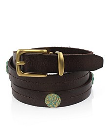 Frye & Co Skinny Leather Belt with Coin Rivets