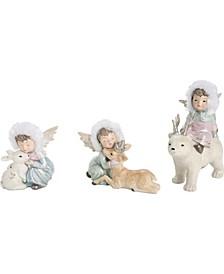Resin  White Christmas Winter Angels - Set of 3