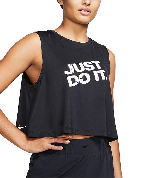 Nike Women's Pro Dri-FIT Printed-Logo Cropped Tank Top