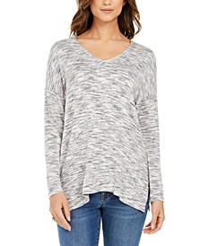 Space-Dye Dropped-Shoulder Knit Top, Created for Macy's