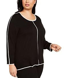 Plus Size Contrast-Trim Sweater