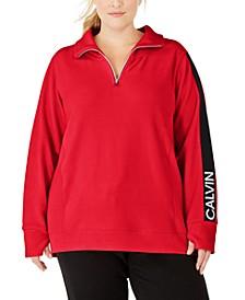 Plus Size Logo-Sleeve Zip-Neck Top