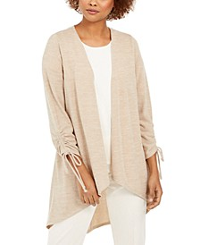 Open-Front Drawstring-Cuff Cardigan