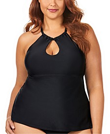Trendy Plus Size Juniors'  Solid Rosalie Underwire High Neck Tankini Top