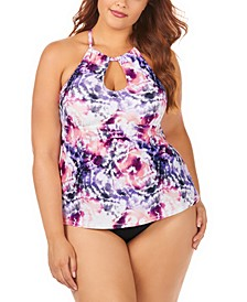 Plus Size Juniors' Torquay Tie Dye Printed Rosalie High Neck Underwire Tankini Top & Bottoms
