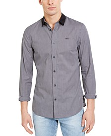 Men's Slim-Fit Dobby Stripe Contrast Collar Shirt