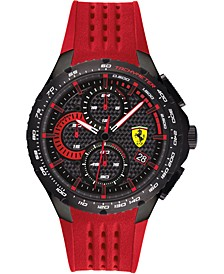 Men's Chronograph Pista Red Silicone Strap Watch 44mm