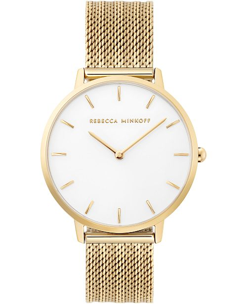 Rebecca Minkoff Women's Major Gold-Tone Stainless Steel Mesh Bracelet Watch 35mm