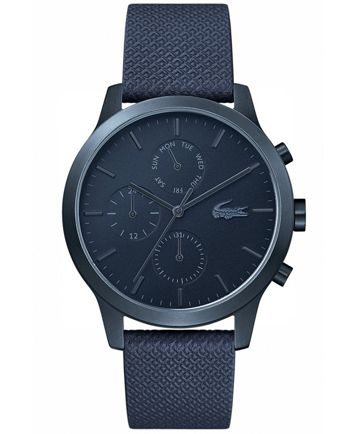 Lacoste - Men's Chronograph 12.12 Blue Leather Strap Watch 42mm