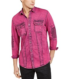 INC Men's Overdyed Moto Shirt, Created for Macy's