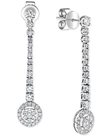 Diamond Halo Cluster Dangle Drop Earrings (1 ct. t.w.) in 14k White Gold