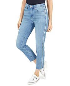Piped-Side Skinny Jeans
