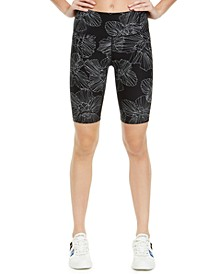 Floral-Print High-Waist Bike Shorts