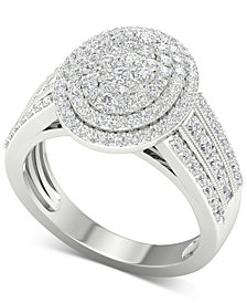 Diamond Oval Cluster Composite Ring (1 ct. t.w.) in 14k White Gold