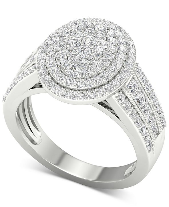 Macy's Diamond Oval Cluster Composite Ring (1 ct. t.w.) in 14k White Gold