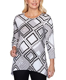 Riverside Drive Printed Embellished-Neck Top