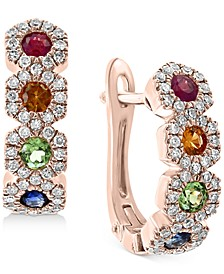 EFFY® Multi-Gemstone (5/8 ct. t.w.) & Diamond (1/3 ct. t.w.) Halo Hoop Earrings in 14k Rose Gold