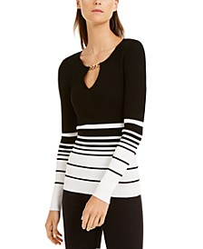 INC Striped Chain-Neck Sweater, Created for Macy's