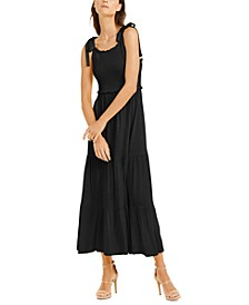 INC Smocked-Bodice Peplum Midi Dress, Created for Macy's