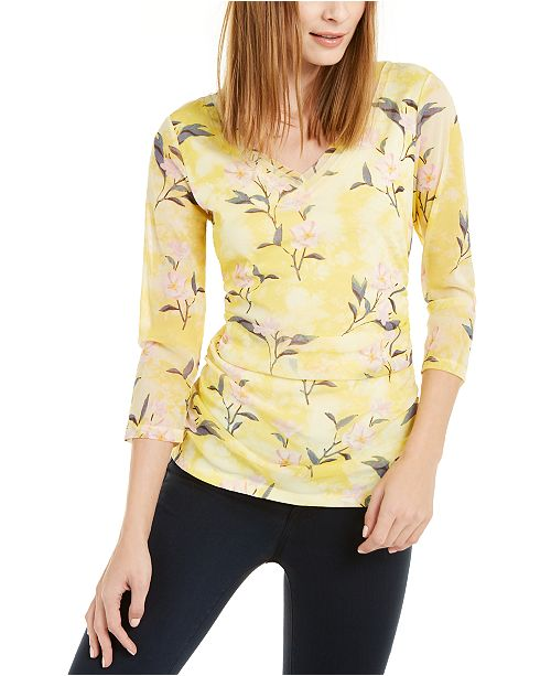 INC International Concepts INC Floral-Print Layered-Neck Top, Created For Macy's