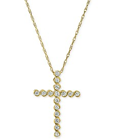 Diamond Cross Adjustable Pendant Necklace (1/3 ct. t.w.) in 14k Gold & 14k White Gold
