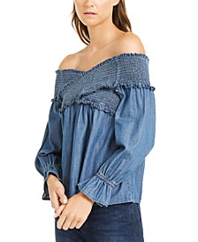 INC Petite Smocked Off-The-Shoulder Top, Created For Macy's