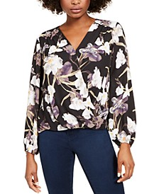 INC Floral-Print Surplice Top, Created for Macy's