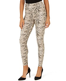 INC Shaping Knit Full-Length Snakeskin Leggings, Created for Macy's (Available in Plus-Size)
