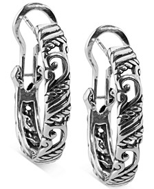 Small Textured Filigree Hoop Earrings in Sterling Silver, 1""