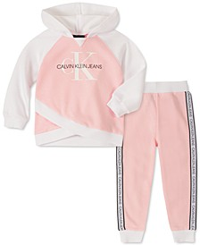 Baby Girls 2-Pc. Crossover-Hem Hoodie & Fleece Pants Set