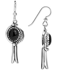 Black Agate (8 x 10mm) Drop Earrings in Sterling Silver