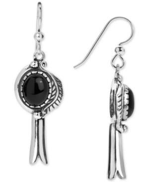 Black Agate (8 x 10mm) Drop Earrings in Sterling Silver
