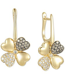 Diamond Flower Hoop Drop Earrings (3/4 ct. t.w.) in 14k Gold