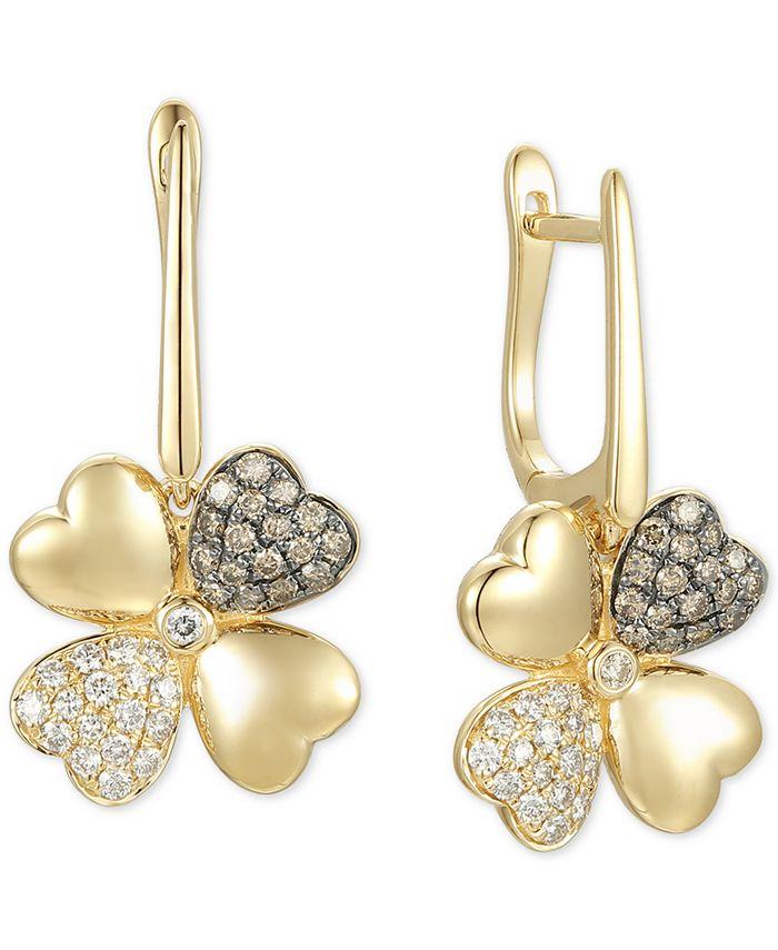 Le Vian - Diamond Flower Hoop Drop Earrings (3/4 ct. t.w.) in 14k Gold