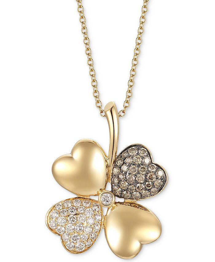 "Le Vian - Diamond Flower 18"" Pendant Necklace (1-1/5 ct. t.w.) in 14k Gold"